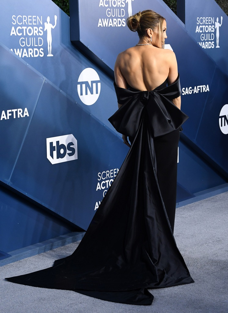 Jennifer Lopez, black gown, back, georges hobeika, sags, 26th Annual Screen Actors Guild Awards, Arrivals, Shrine Auditorium, Los Angeles, USA - 19 Jan 2020