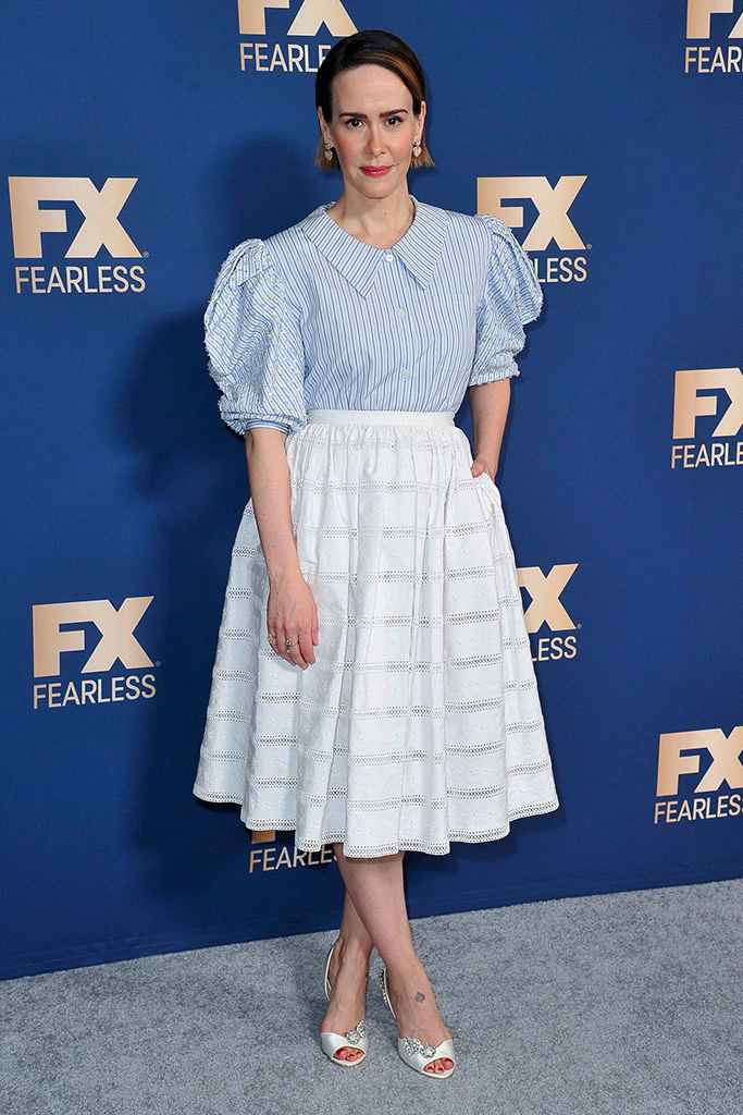 Sarah Paulson, Jimmy Choo Thyme sandals, poses at the the FX portion of the Television Critics Association Winter press tour, in Pasadena, Calif2020 Winter TCA - FX Starwalk - 09 Jan 2020
