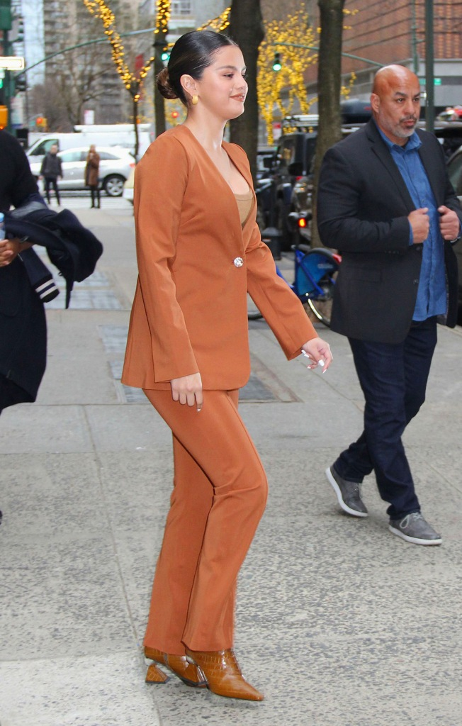 Selena Gomez, yuul yie boots, brown boots, sculptural heels, celebrity style, street style, nyc, gauge 81 pantsuit, orange pantsuit, orange aesthetic, 'Live With Kelly & Ryan' TV show, New York, USA - 13 Jan 2020