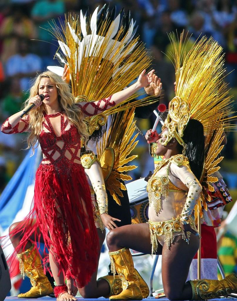shakira, world cup performance, 2014, red dress, celebrity style, brazil, zoe charbel dress