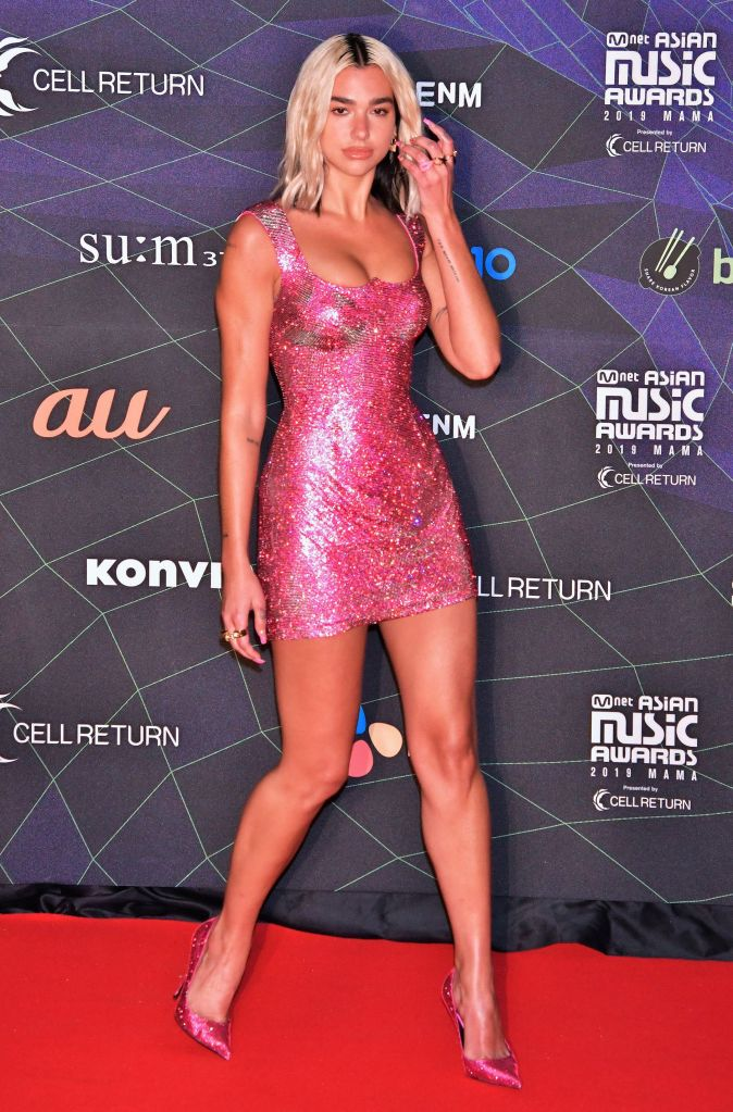 Dua Lipa, hot pink, minidress, stilettos, pumps, red carpet, versace dress, attends the photo call during the 2019 MAMA (Mnet Asian Music Awards) at the Nagoya Dome in Nagoya, Aichi-Prefecture, JapanMAMA awards, Nagoya, Japan - 04 Dec 2019Wearing Versace