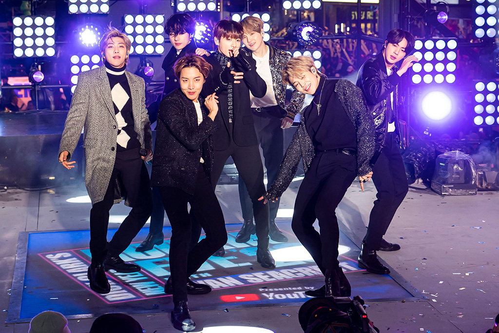 Jin, Sugg, J-Hope, RM, Jimin, V, Jungkook. BTS perform at the Times Square New Year's Eve celebration, in New York2020 New Year's Eve Times Square Performances, New York, USA - 31 Dec 2019