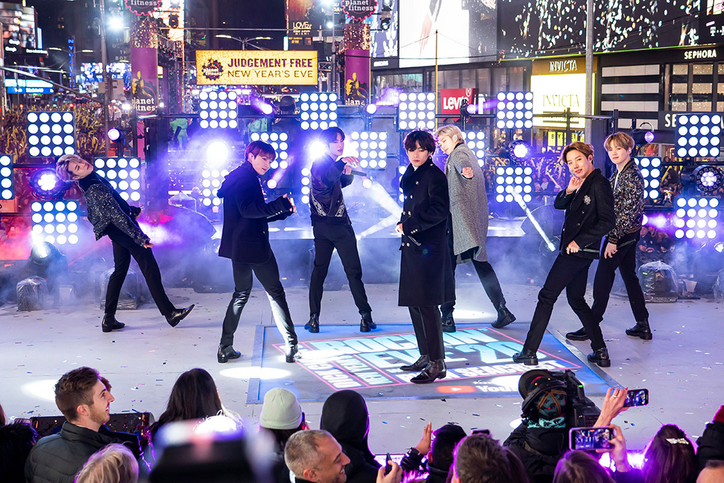 BTS perform at the Times Square New Year's Eve celebration, in New York2020 New Year's Eve Times Square Performances, New York, USA - 31 Dec 2019