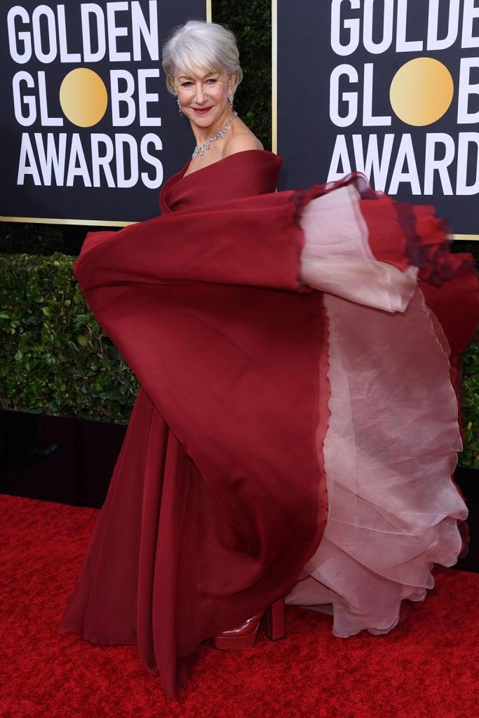 Helen Mirren, red carpet, red dress, dior gown, aldo boots, platforms, 77th Annual Golden Globe Awards, Arrivals, Los Angeles, USA - 05 Jan 2020Wearing Dior, Custom