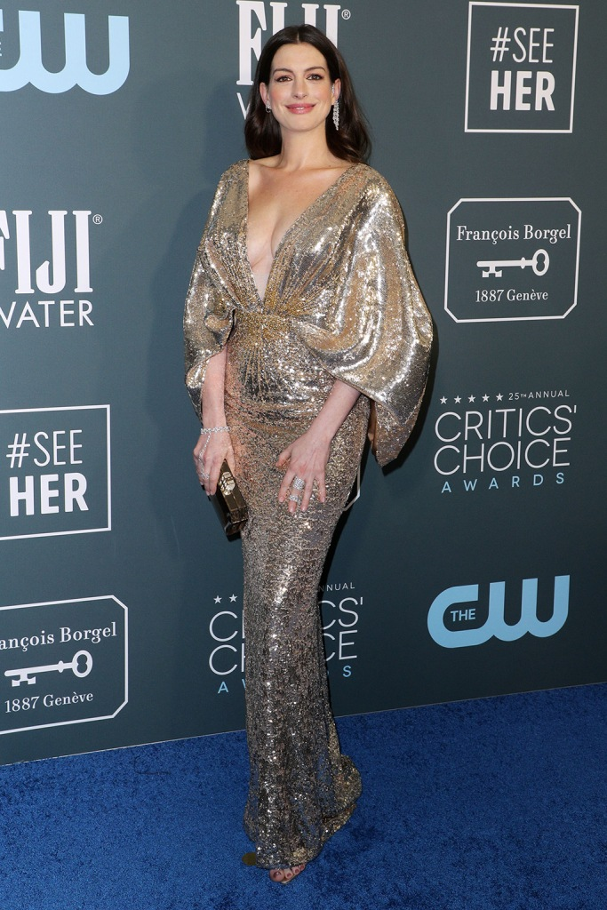 Anne Hathaway, alexandre birman, gold sandals, celebrity style, red carpet, versace dress, gold gown, 25th Annual Critics' Choice Awards, Arrivals, Fashion Highlights, Barker Hanger, Los Angeles, USA - 12 Jan 2020