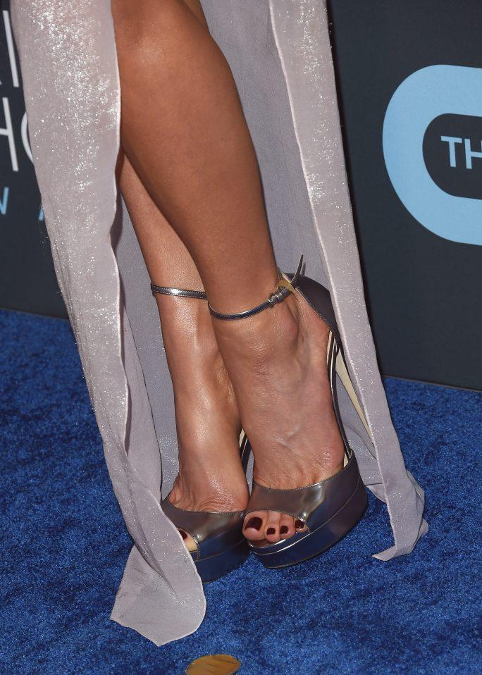 Kate Beckinsale,  jimmy choo, platform sandals, red carpet, pedicure, toes, shoe detail25th Annual Critics' Choice Awards, Arrivals, Barker Hanger, Los Angeles, USA - 12 Jan 2020