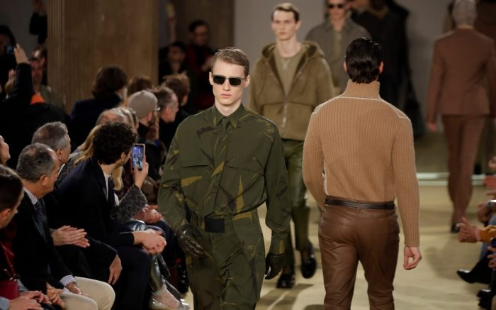 Models wear creations part of the Salvatore Ferragamo men's Fall-Winter 2020/21 collection, that was presented during the fashion week, in Milan, ItalyFashion Mens F/W 20/21 Ferragamo, Milan, Italy - 12 Jan 2020