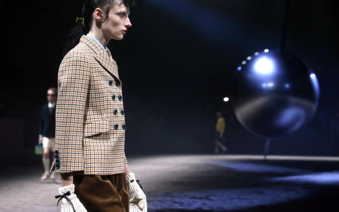 A model presents a creation by Gucci during the Milan Fashion Week, in Milan, Italy, 14 January 2020. The Fall-Winter 2020 Man's collections are presented at the Milano Moda Uomo from 10 to 14 January 2020.Gucci - Runway - Milan Fashion Week Men's F/W 2020/21, Italy - 14 Jan 2020