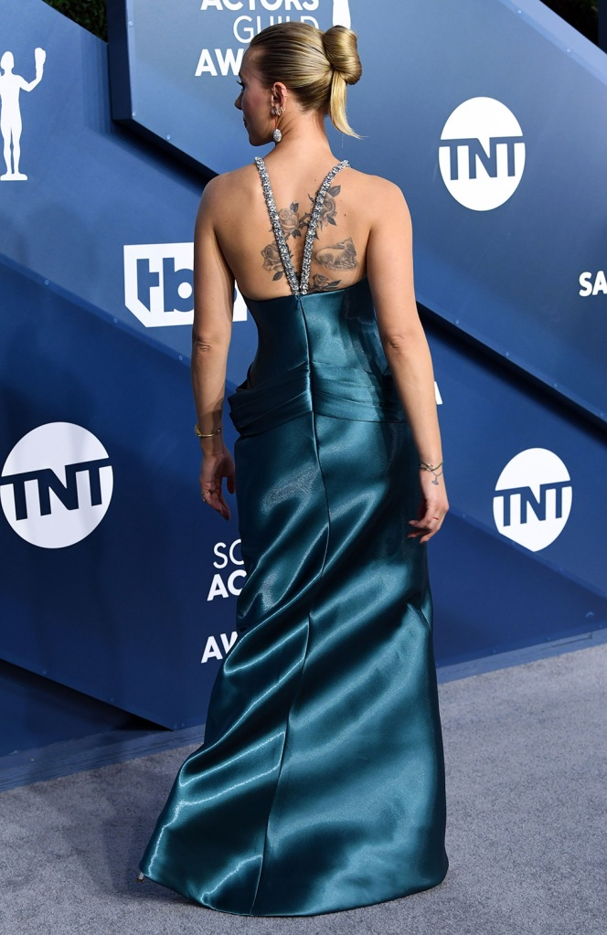 Scarlett Johansson, armani prive, back tattoos, red carpet, sags, 26th Annual Screen Actors Guild Awards, Arrivals, Shrine Auditorium, Los Angeles, USA - 19 Jan 2020