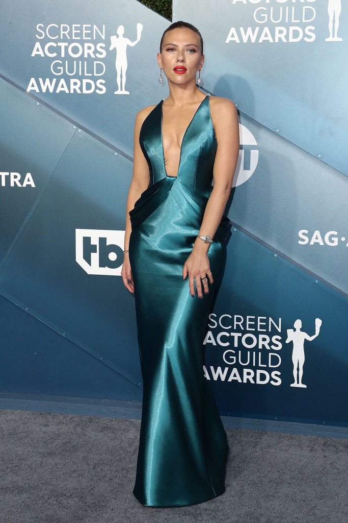 Scarlett Johansson2, teal gown, armani, cleavage, celebrity style, 6th Annual Screen Actors Guild Awards, Arrivals, Shrine Auditorium, Los Angeles, USA - 19 Jan 2020