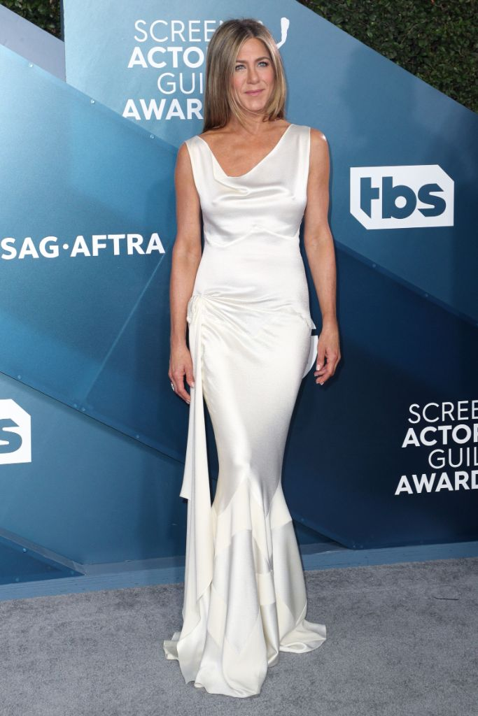 Jennifer Aniston, celebrity style, red carpet, 90s inspiration, sag awards, celebrity style, white dress