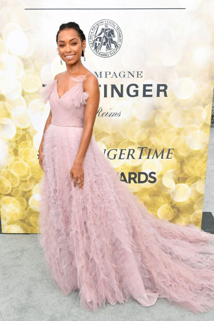 Logan Browning, jason wu, red carpet, sag awards, celebrity style, pin dress