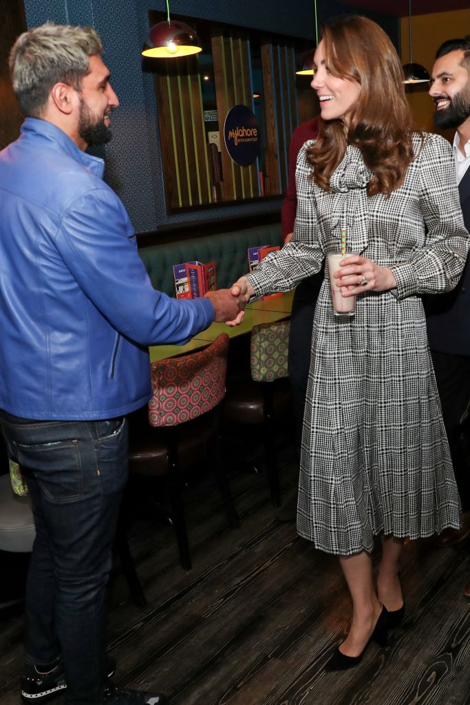 kate middleton, zara dress, gianvito rossi pumps, Prince William and Catherine Duchess of Cambridge meet with Amir Khan during a visit to MyLahores flagship restaurant on January 15, 2020 in Bradford, United Kingdom. MyLahore is a British Asian restaurant chain which has taken inspiration from Lahore, the Food Capital of Pakistan. The Duke and Duchess visited Lahore during their recent tour to Pakistan.Prince William and Catherine Duchess of Cambridge visit to Bradford, UK - 15 Jan 2020