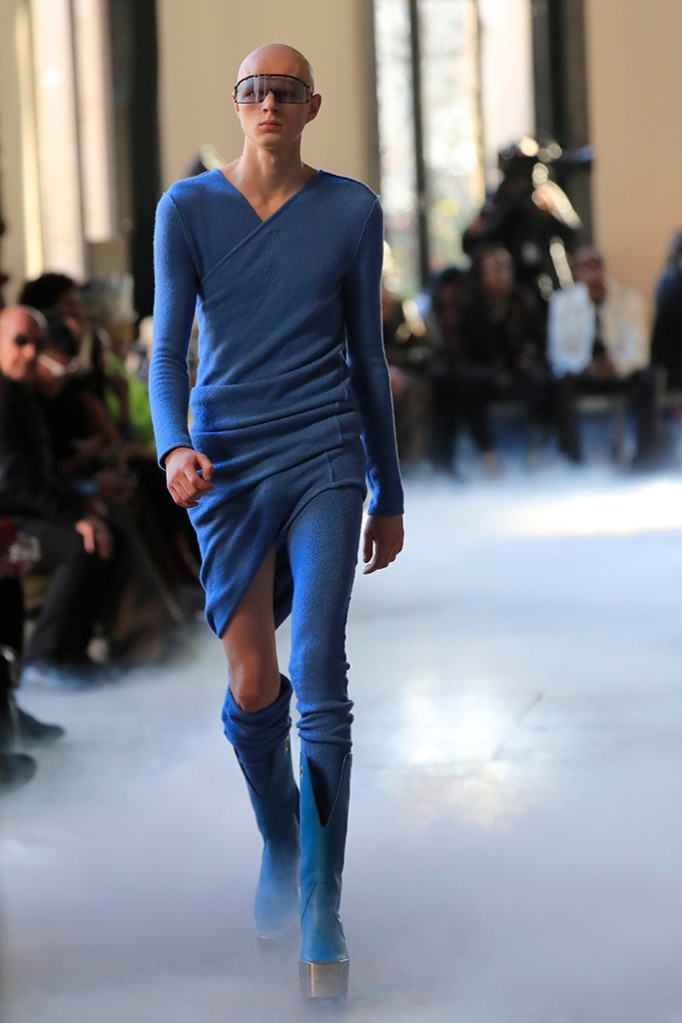 Rick Owens, Model, Fall/Winter 2020, mens heels, blue, platform shoes