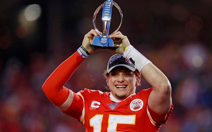 Kansas City Chiefs' Patrick Mahomes celebrates with the Lamar Hunt Trophy after the NFL AFC Championship football game against the Tennessee Titans, in Kansas City, MO. The Chiefs won 35-24 to advance to Super Bowl 54AFC Championship Titans Chiefs Football, Kansas City, USA - 19 Jan 2020