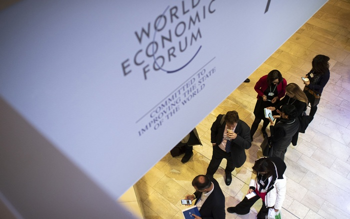 Participants queue during the 50th annual meeting of the World Economic Forum (WEF) in Davos, Switzerland, 22 January 2020. The meeting brings together entrepreneurs, scientists, corporate and political leaders in Davos under the topic 'Stakeholders for a Cohesive and Sustainable World' from 21 to 24 January 2020.50th annual meeting of the World Economic Forum in Davos, Switzerland - 22 Jan 2020