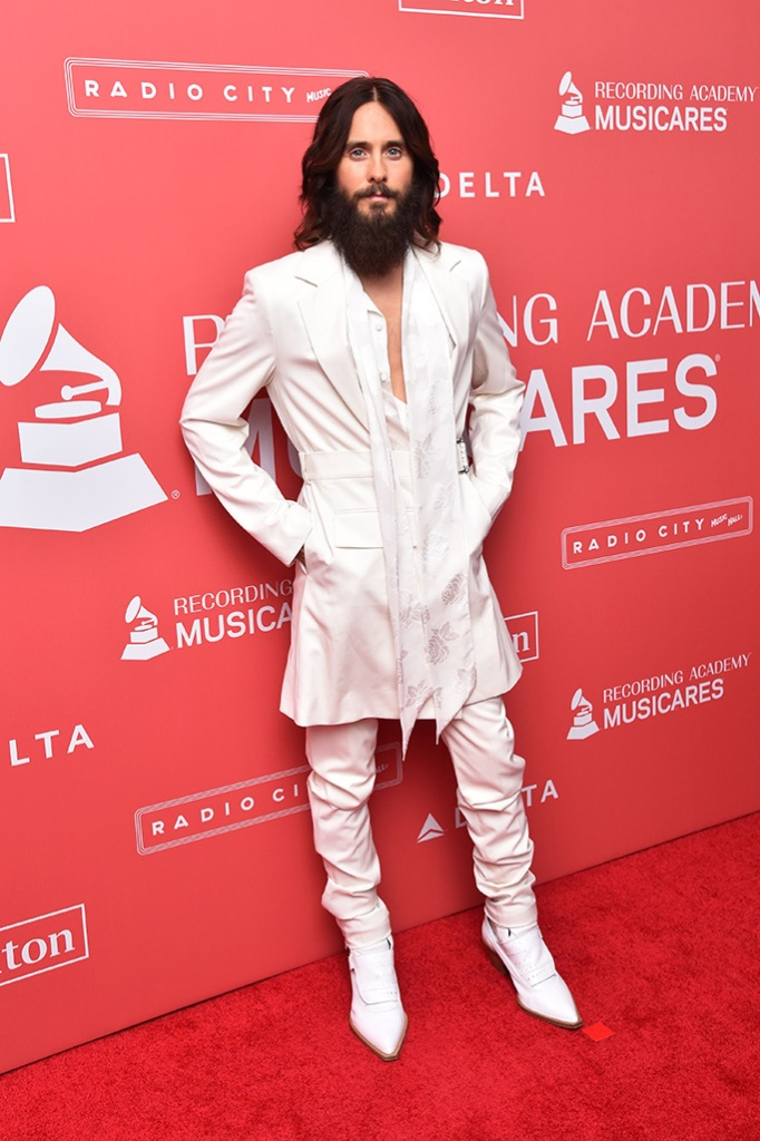Jared Leto at the MusiCares Person of the Year Gala, 2018, helmut lang, men in heels