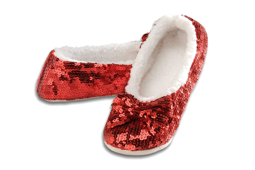 snoozies ruby red slippes