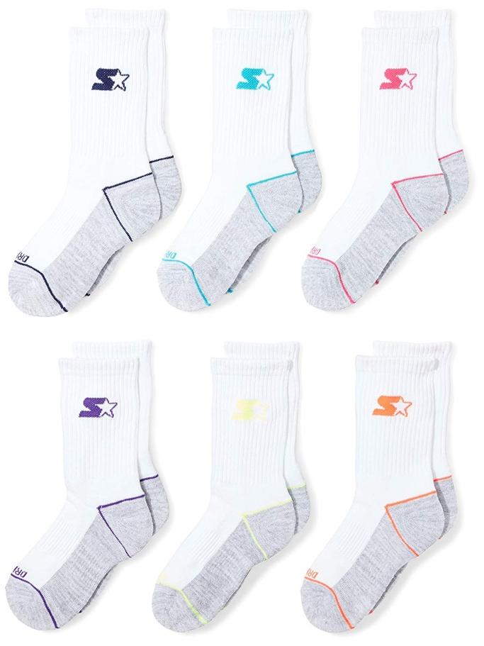 Starter Girls' 6-Pack Athletic Crew Socks