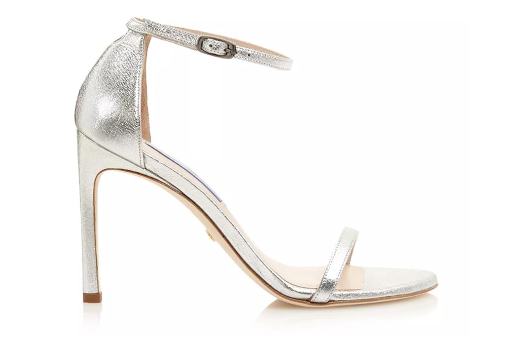 Stuart Weitzman Nudist sandal in silver leather