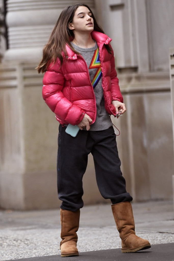 Suri Cruise, nyc, celebrity style, street style, katie holmes daughter, tom cruise daughter, moncler jacket, hot pink, ugg boots,