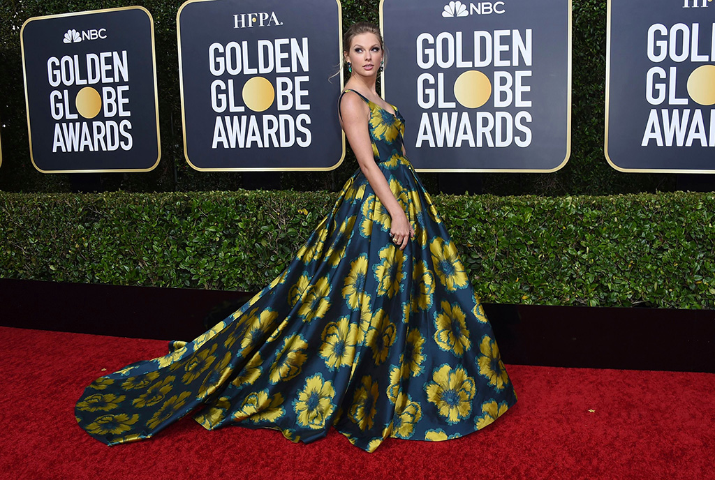Taylor Swift, golden globes, etro, celebrity style, floral gown, red carpet, arrives at the 77th annual Golden Globe Awards at the Beverly Hilton Hotel, in Beverly Hills, Calif77th Annual Golden Globe Awards - Arrivals, Beverly Hills, USA - 05 Jan 2020
