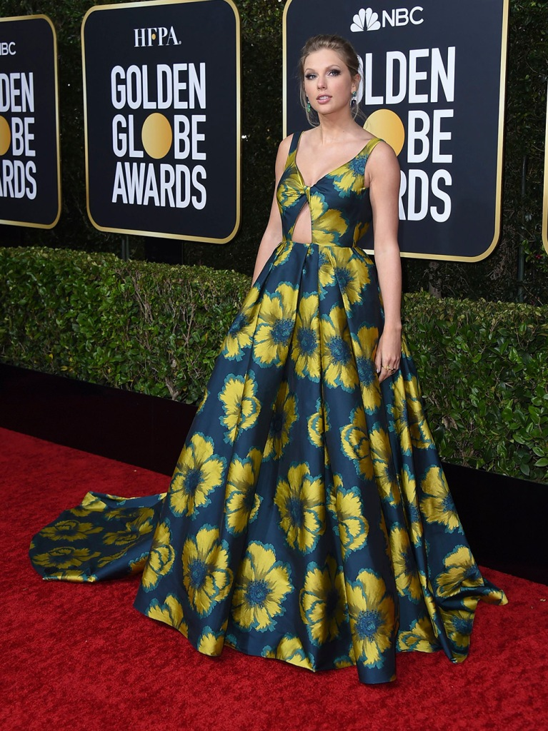 Taylor Swift, etro, floral gown, golden globes, arrives at the 77th annual Golden Globe Awards at the Beverly Hilton Hotel, in Beverly Hills, Calif77th Annual Golden Globe Awards - Arrivals, Beverly Hills, USA - 05 Jan 2020
