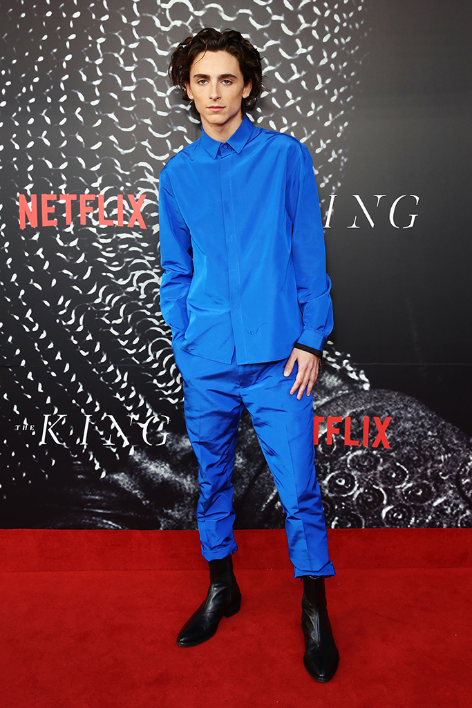 Timothee Chalamet arrives for the Australian premiere of the movie 'The King' at The Ritz Cinema in Randwick, Sydney, Australia, 10 October 2019.The King film premiere in Sydney, Australia - 10 Oct 2019 Wearing Haider Ackermann Same Outfit as Catwalk Model *10428755af