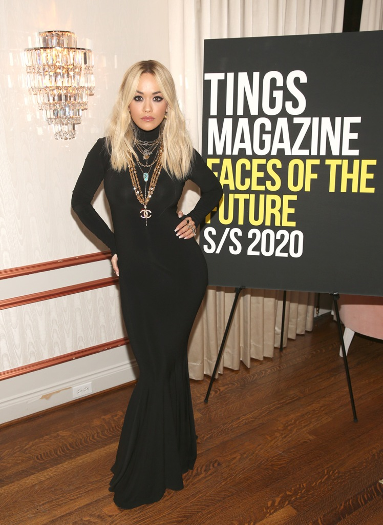 rita ora, black dress, necklaces, celebrity style, LOS ANGELES, CALIFORNIA - JANUARY 28: Rita Ora attend Tings Magazine Private Dinner at the Private Residence of the CEO of Absolut Elyx on January 28, 2020 in Los Angeles, California. (Photo by Jesse Grant/Getty Images for Absolut Elyx)