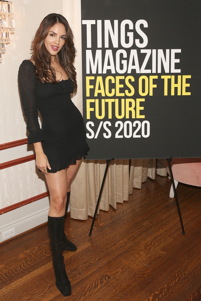 Eiza Gonzalez , black minidress, legs, short dress, black boots, knee high boots, square toe trend, LOS ANGELES, CALIFORNIA - JANUARY 28: Eiza González attends Tings Magazine Private Dinner at the Private Residence of the CEO of Absolut Elyx on January 28, 2020 in Los Angeles, California. (Photo by Jesse Grant/Getty Images for Absolut Elyx)