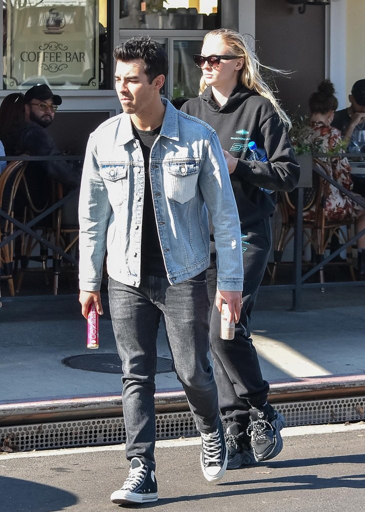 Joe Jonas, converse sneakers, sophie turner, naked wolfe sneakers, chunky sneakers, celebrity style, sweatsuit, Joe Jonas and Sophie TurnerJoe Jonas and Sophie Turner out and about, Los Angeles, USA - 22 Jan 2020 Sophie TurnerJoe Jonas and Sophie Turner out and about, Los Angeles, USA - 22 Jan 2020
