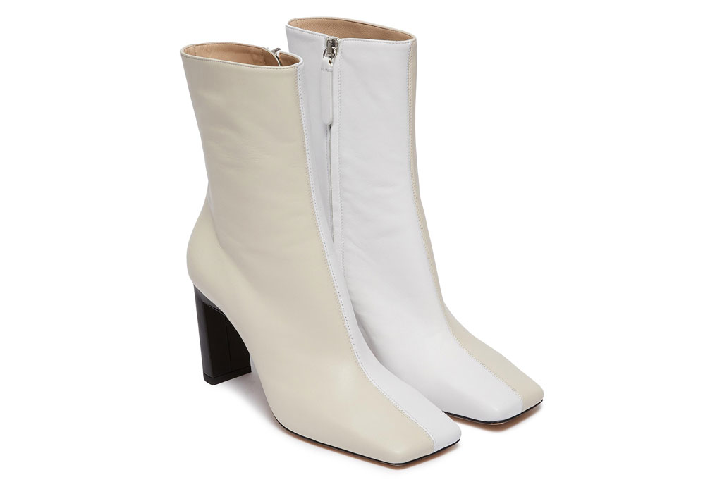 Wandler, white boots, two-tone shoes, square toe