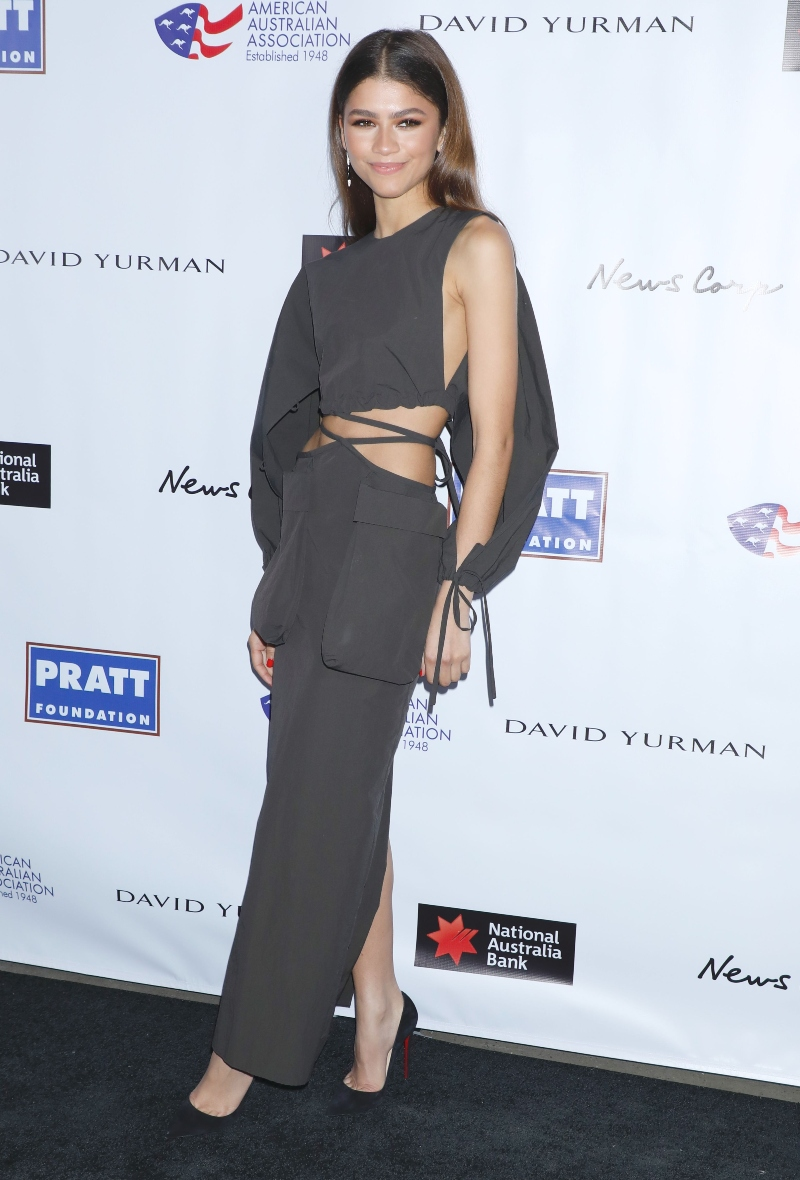 zendaya, louboutin, christopher esber, dress, heels, American Australian Association Arts Awards