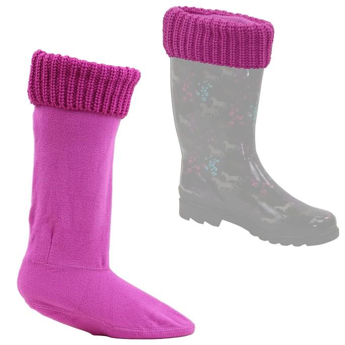 Snowy Magnolia Fleece Boot socks, rain boot socks