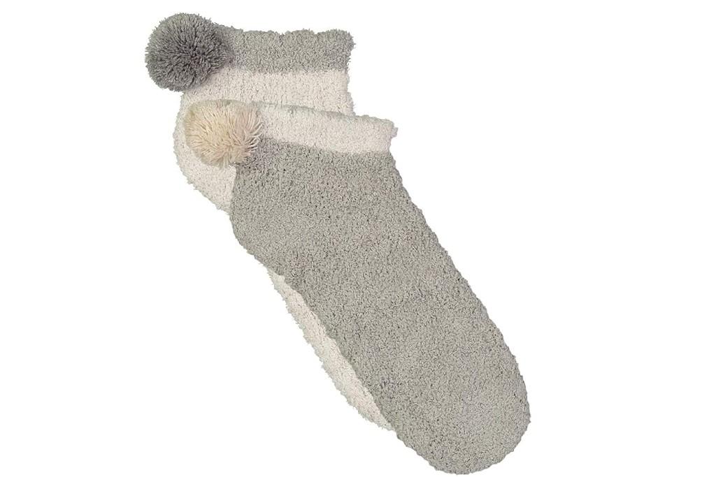 Lemon Cable Pom Foam Fuzzy No Show Socks, pom pom socks for women