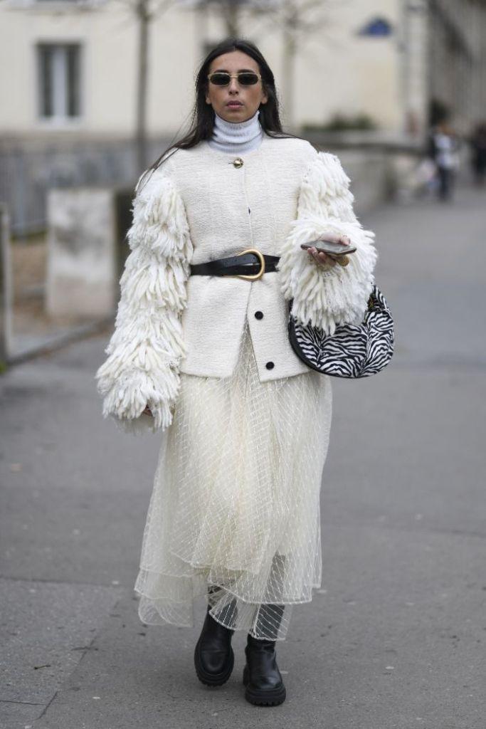 pfw, street style, white, monochrome, fall 20