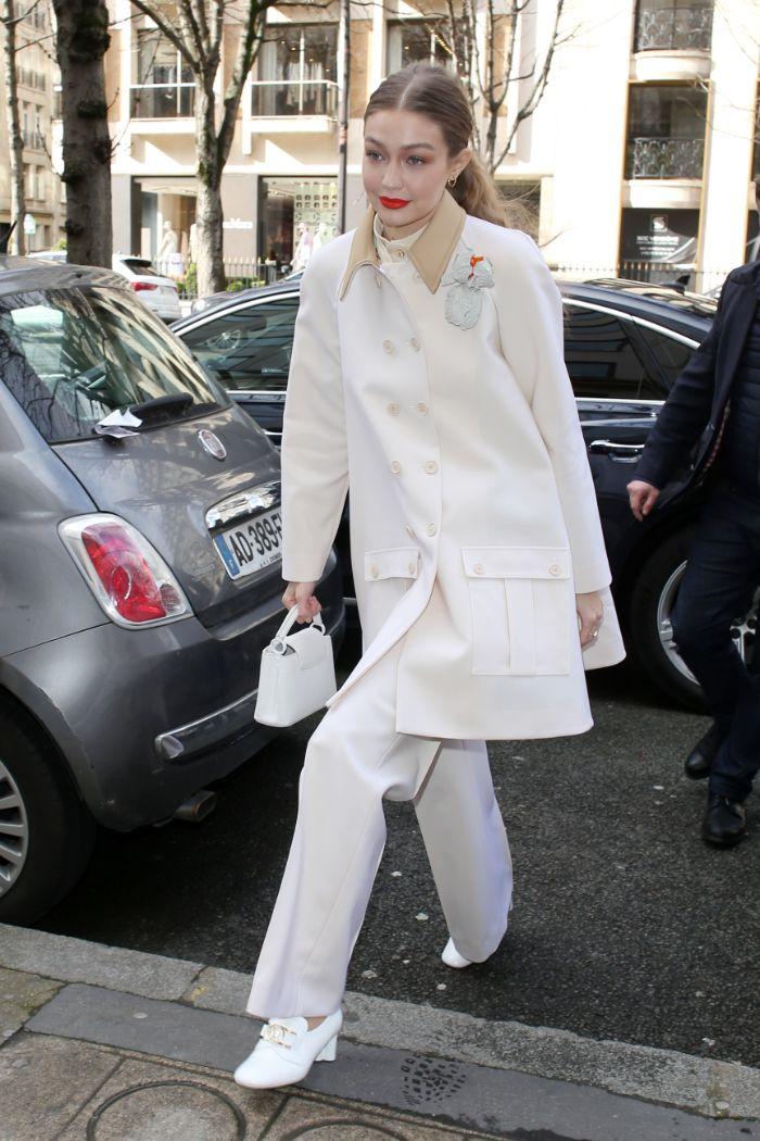 gigi hadid, paris fashion week, pfw, white, all white, monochrome, white boots, pants, coat