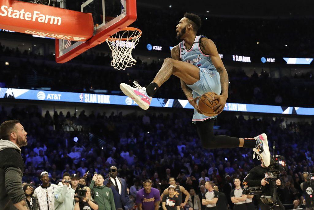 puma clyde hardwood, Miami Heat's Derrick Jones Jr. competes in the NBA All-Star slam dunk contest in Chicago, Saturday, Feb. 15, 2020. (AP Photo/Nam Y. Huh)