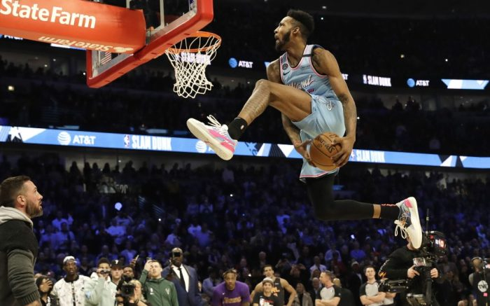 puma clyde hardwood, Miami Heat's Derrick Jones Jr. competes in the NBA All-Star slam dunk contest in Chicago, Saturday, Feb. 15, 2020. (AP Photo/Nam Y. Huh)