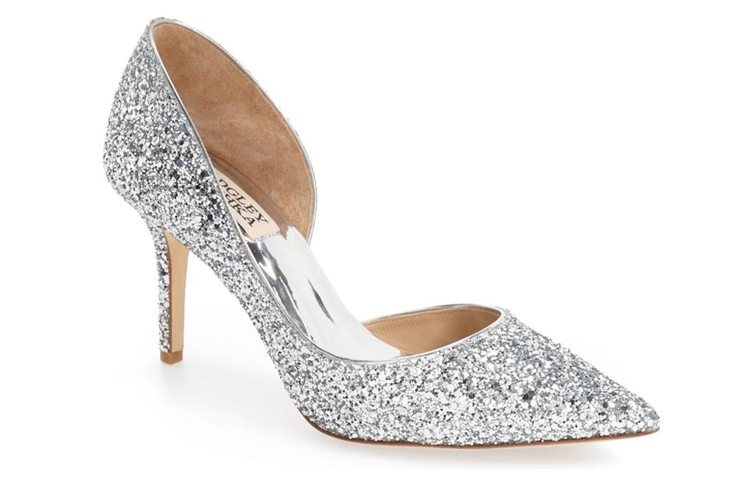 badgley mischka glitter heels