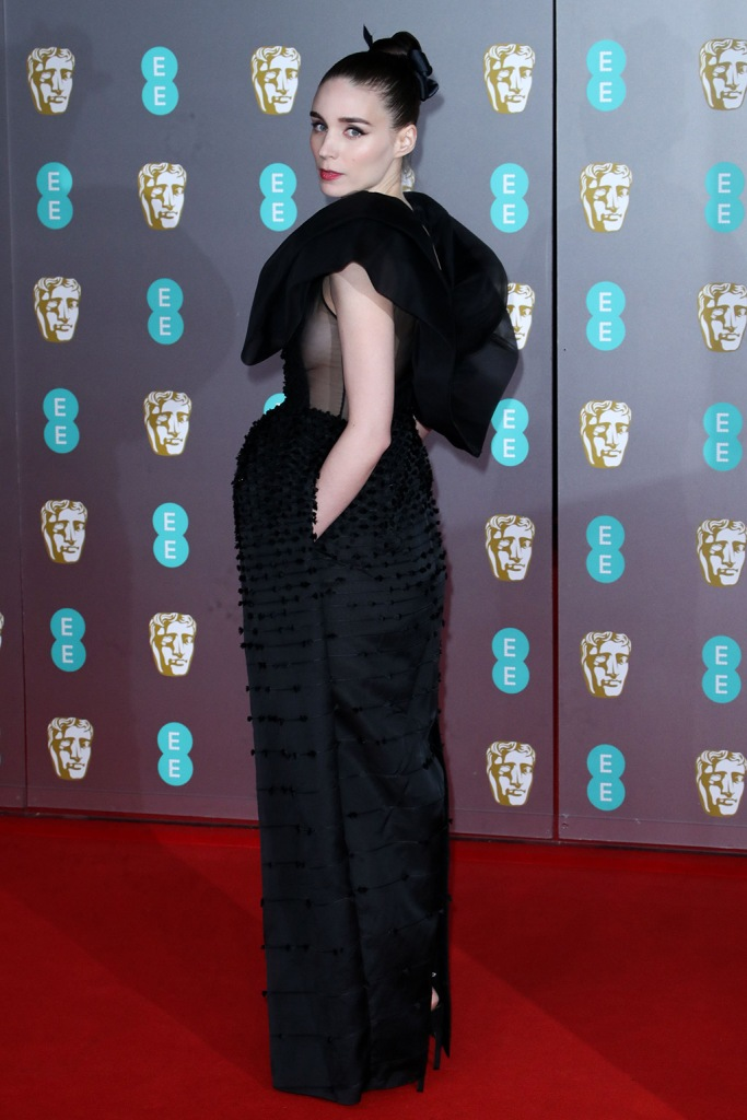 Rooney Mara, givenchy, black dress, sheer sides, red carpet, 73rd British Academy Film Awards, Arrivals, Royal Albert Hall, London - 02 Feb 2020Wearing Givenchy Same Outfit as catwalk model *10531207af