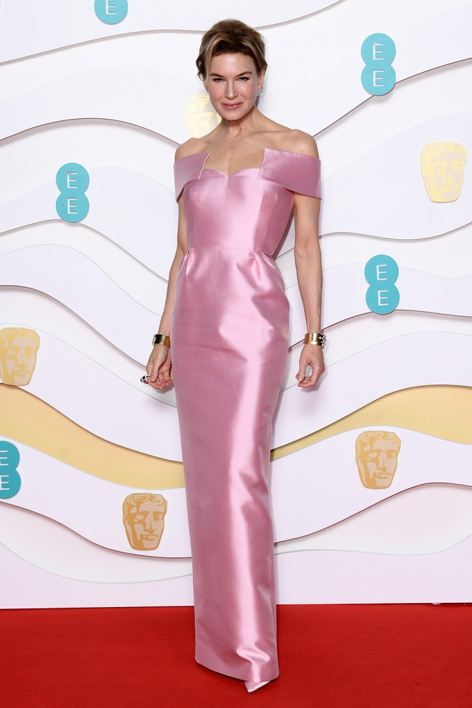 Renee Zellweger, bafts, pink dress, pink heels, 73rd British Academy Film Awards, Arrivals, Royal Albert Hall, London, UK - 02 Feb 2020