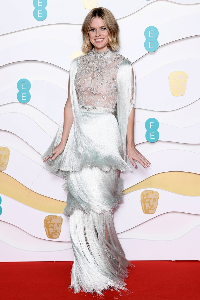 Alice Eve, ralph and russo, dress, fringed gown, 73rd British Academy Film Awards, Arrivals, Royal Albert Hall, London, UK - 02 Feb 2020