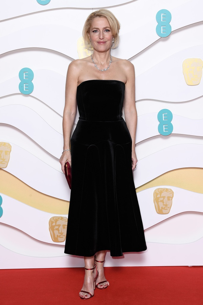 Gillian Anderson, red sandals, jimmy choo, black dress, celebrity style, 73rd British Academy Film Awards, Arrivals, Royal Albert Hall, London, UK - 02 Feb 2020