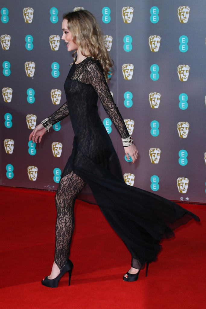 Lily-Rose Depp, chanel, lace catsuit, celebrity style, sheer dress, 73rd British Academy Film Awards, Arrivals, Royal Albert Hall, London - 02 Feb 2020