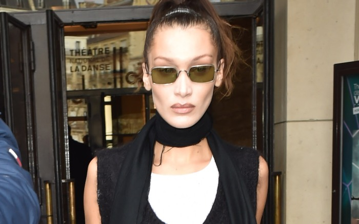 Bella Hadid is seen at the Haider Ackermann fashion show in Paris with large splits in the front of her trousersPictured: Bella HadidRef: SPL5152912 290220 NON-EXCLUSIVEPicture by: New Media Images / SplashNews.comSplash News and PicturesLos Angeles: 310-821-2666New York: 212-619-2666London: +44 (0)20 7644 7656Berlin: +49 175 3764 166photodesk@splashnews.comWorld Rights