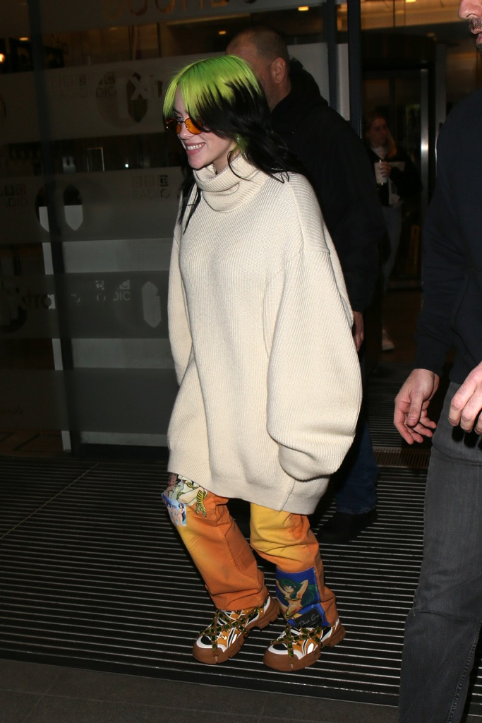 Billie Eilish, gucci flashtrek sneakers, celebrity style, street style, turtleneck sweater, at BBC Radio 1Billie Eilish out and about, London, UK - 19 Feb 2020Billie Eilish at BBC Radio 1Billie Eilish out and about, London, UK - 19 Feb 2020