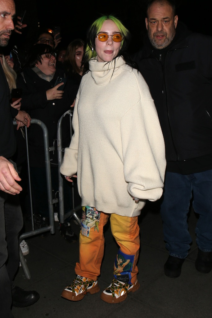 Billie Eilish, gucci flashtrek sneakers, celebrity style, street style, turtleneck sweater, at BBC Radio 1Billie Eilish out and about, London, UK - 19 Feb 2020
