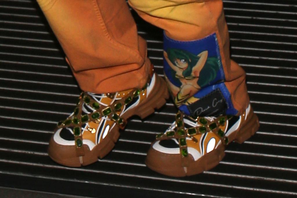gucci flashtrek sneakers, shoe detail , london, Billie Eilish