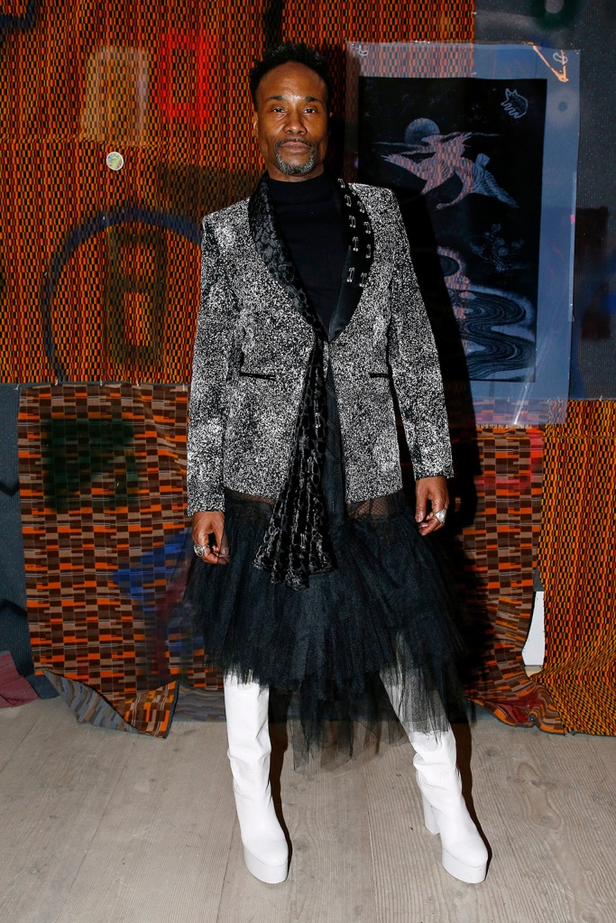 Billy Porter, Kim Perets dress, Alexandro Fratelli blazer, coach boots, platforms, white boots, in the front rowMatty Bovan show, Front Row, Fall Winter 2020, London Fashion Week, UK - 14 Feb 2020